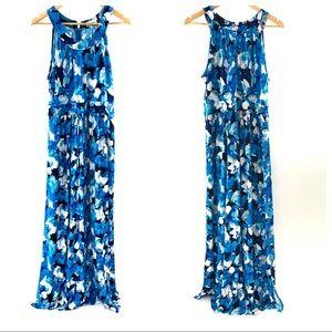 Calvin Klein Blue Floral Sleeveless Maxi Dress 12